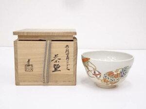 京焼 藤谷芳山造 色絵団扇つなぎ文茶碗