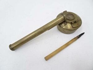 古物 方位磁針付 黄銅矢立