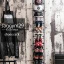 【Jaggym29】ブラックインテリア特集 黒  突っ張り薄型シューズ幅29cm つっぱり スリムシューズラック 靴箱 ディス…