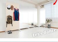 キャスター付きミラーワイド幅80cmホワイト全身ミラー姿見ダンスヨガバレエ事務所モダンオシャレ家具インテリアすき間省スペースノンフレームクローゼット日本製