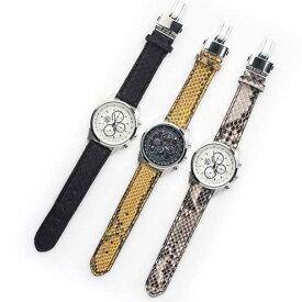 S'FACTORYエスファクトリー クロノグラフ腕時計 レザーベルト パイソン(ヘビ革)メンズ 腕時計 レザー 革 クロノグラフ EPSON Dバックル 日本製