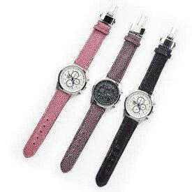 S'FACTORYエスファクトリー クロノグラフ腕時計 レザーベルト スティングレー(エイ革)メンズ 腕時計 レザー 革 クロノグラフ EPSON Dバックル 日本製 ガルーシャ