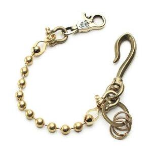 S'FACTORYエスファクトリー キーリング ショート ウォレットチェーン ボール大 ブラス(真鍮) 金属 ゴールド メタル 短め キーリング 鍵 ボールチェーン