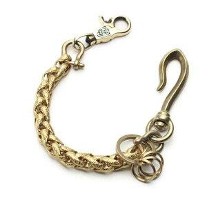 S'FACTORYエスファクトリー キーリング ショート ウォレットチェーン インフィニティー ブラス(真鍮) 金属 ゴールド メタル 短め キーリング 鍵 喜平