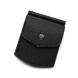 S'FACTORYエスファクトリー マネークリップ コインケース付き ブラックパイソン(ヘビ革) 本革 コインケース 札はさみ レザー カード 財布