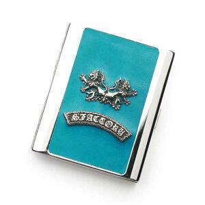 S'FACTORYエスファクトリー メタル シガレットケース 20本タイプ ターコイズブルー ポニーレザー(馬革) ロング レザー 革 10本以上収納 青 タバコ 限定カラー