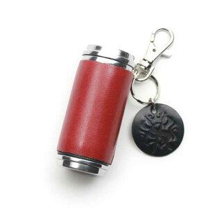 S'FACTORYエスファクトリー 携帯灰皿シリンダー レッド カウレザー(牛革) タバコ 煙草 レザー 革 赤 吸い殻入れ 限定カラー