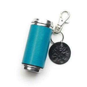 S'FACTORYエスファクトリー 携帯灰皿シリンダー ターコイズブルー ポニーレザー(馬革) タバコ 煙草 レザー レザー 革 青 吸い殻入れ 限定カラー