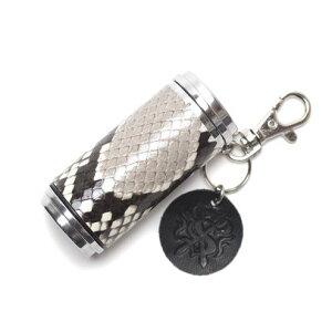 S'FACTORYエスファクトリー 携帯灰皿シリンダー パイソン(ヘビ革) 携帯 灰皿 喫煙具 レザー 革 プレゼント ギフト