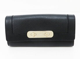 ◇【中古】 美品 【COACH コーチ】 レザー長財布 財布 ブラック