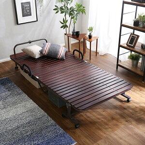【1日限定☆エントリーでP12倍】折り畳みベッド すのこ シングル ベッド ベット 軽量 防虫 断熱 耐荷重100kg ナチュラル ブラウン