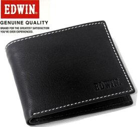 エドウィン EDWIN (牛革) レザーショートウォレット/二つ折り財布 エドウイン 0510430 ブラック 【あす楽対応】