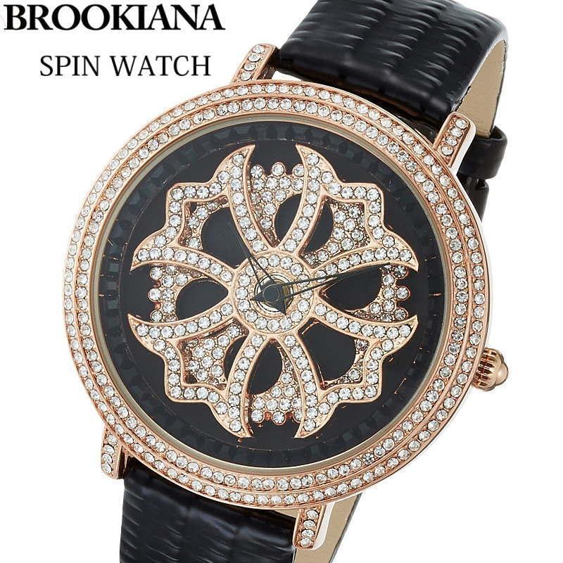 BROOKIANA(ブルッキアーナ) スピンウォッチ 腕時計 くるくるとランダムに回転する二連モチーフ 牛革エナメルレザーベルト メンズ/レディースウォッチ Spin Watch BA2310-RGBK 【あす楽対応】