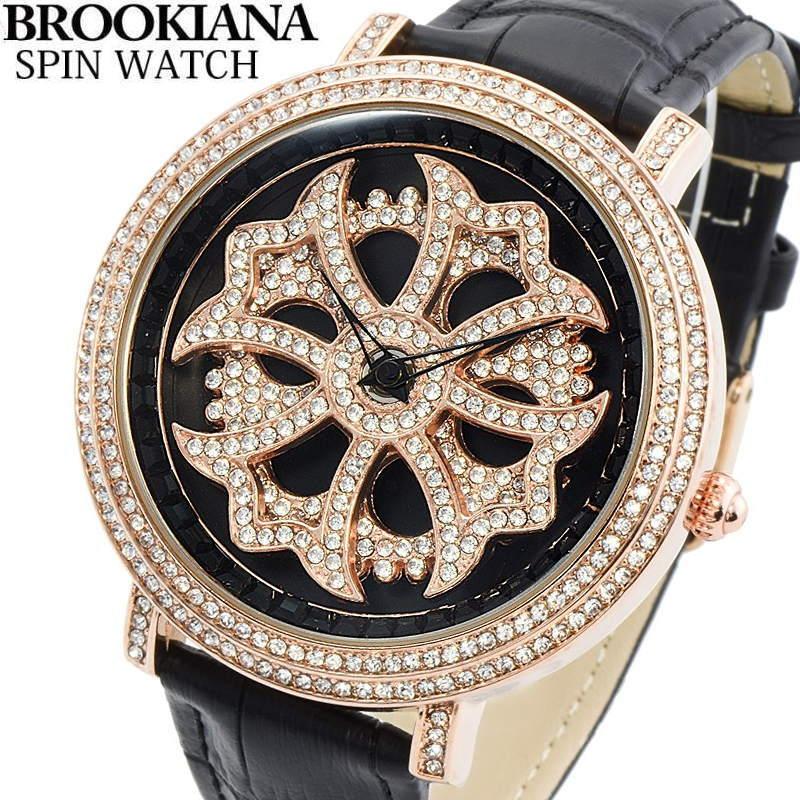 BROOKIANA(ブルッキアーナ) スピンウォッチ 腕時計 くるくるとランダムに回転する二連モチーフ クロコ型押しレザーベルト メンズウォッチ Spin Watch BA2310-RGBK2 【あす楽対応】