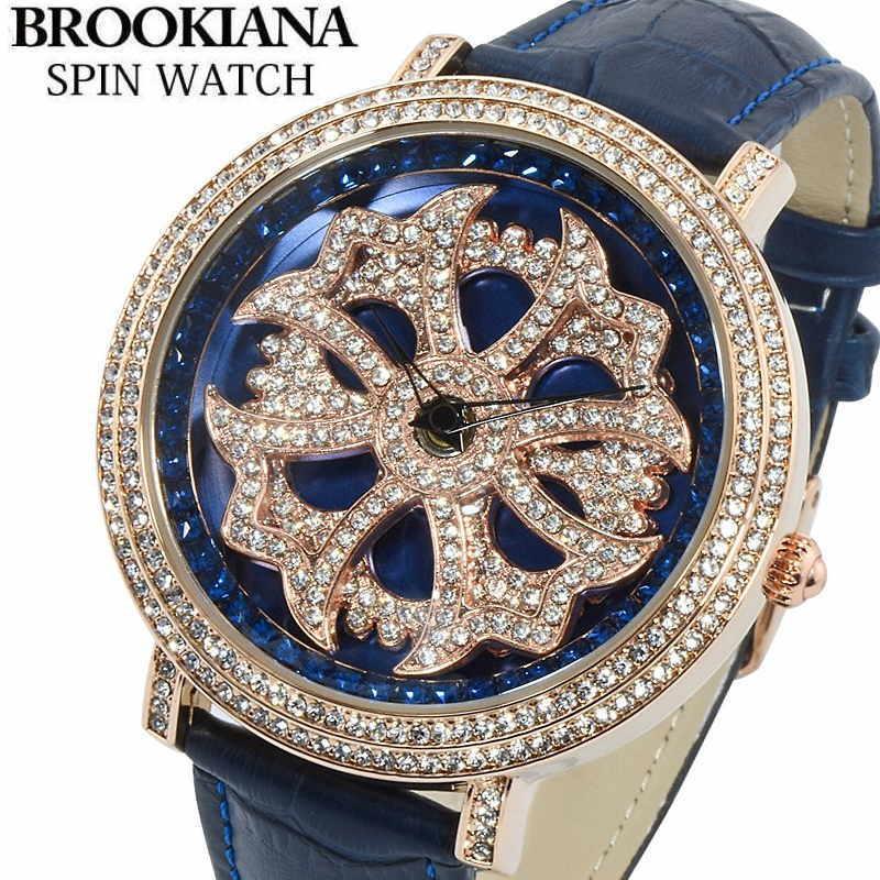 BROOKIANA(ブルッキアーナ) スピンウォッチ 腕時計 くるくるとランダムに回転する二連モチーフ クロコ型押しレザーベルト メンズウォッチ Spin Watch BA2310-RGBL