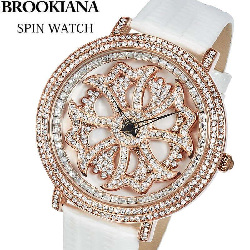 BROOKIANA(ブルッキアーナ) スピンウォッチ 腕時計 くるくるとランダムに回転する二連モチーフ 牛革エナメルレザーベルト メンズ/レディースウォッチ Spin Watch BA2310-RGWH 【あす楽対応】