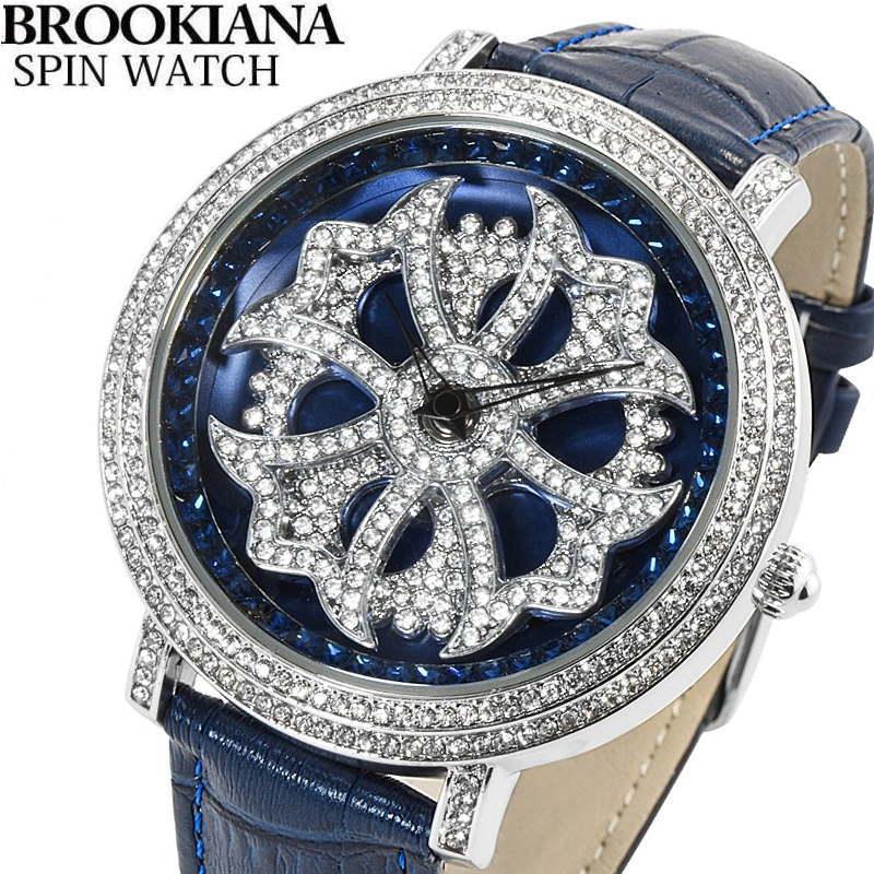 BROOKIANA(ブルッキアーナ) スピンウォッチ 腕時計 くるくるとランダムに回転する二連モチーフ クロコ型押しレザーベルト メンズウォッチ Spin Watch   BA2310-SVBL 【あす楽対応】