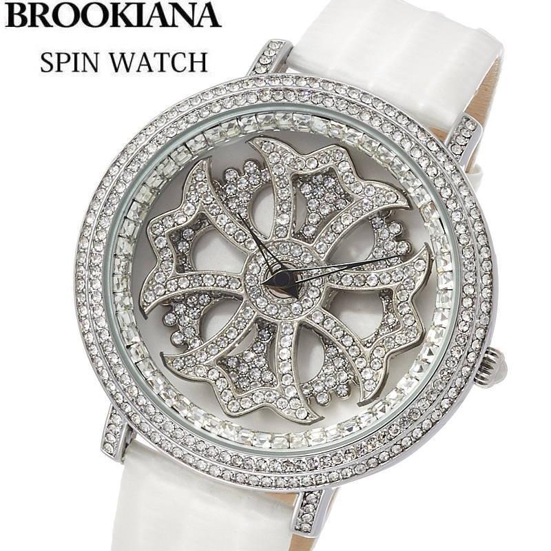 BROOKIANA(ブルッキアーナ) スピンウォッチ 腕時計 くるくるとランダムに回転する二連モチーフ 牛革エナメルレザーベルト メンズ/レディースウォッチ Spin Watch BA2310-SVWH 【あす楽対応】