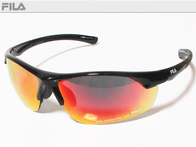 FILA フィラ スポーツサングラス ユニセックス メタリックブラック SF4004J-COL10 UV protection lens ゴルフその他スポーツレジャーなどに!【あす楽対応】
