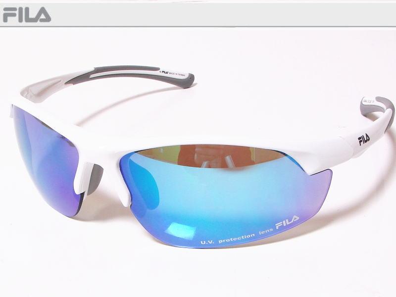 FILA フィラ スポーツサングラス ユニセックス シャイニーホワイト SF4004J-COL80 UV protection lens ゴルフその他スポーツレジャーなどに!【あす楽対応】
