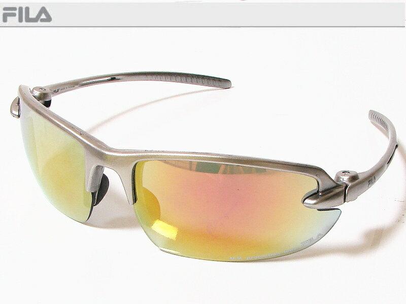 FILA フィラ スポーツサングラス ユニセックス プレーティングシルバー SF4005J-COL60 UV protection lens ゴルフその他スポーツレジャーなどに!【あす楽対応】