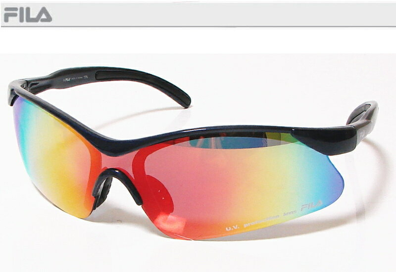 FILA フィラ スポーツサングラス ユニセックス メタリックブルー SF8727J-COLV74 UV protection lens ゴルフその他スポーツレジャーなどに!【あす楽対応】