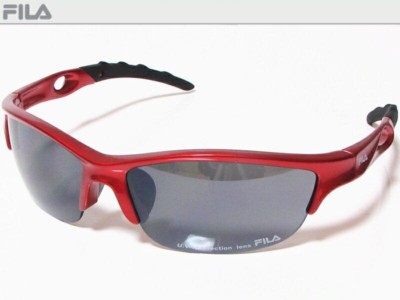 FILA フィラ スポーツサングラス ユニセックス メタリックレッド SF8826J-965 UV protection lens ゴルフその他スポーツレジャーなどに!【あす楽対応】