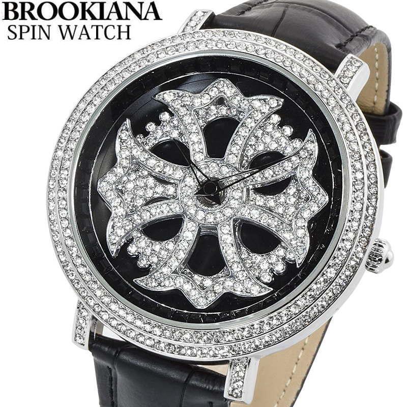 BROOKIANA(ブルッキアーナ) スピンウォッチ 腕時計 くるくるとランダムに回転する二連モチーフ クロコ型押しレザーベルト メンズウォッチ Spin Watch BA2310-SVBK2 【あす楽対応】