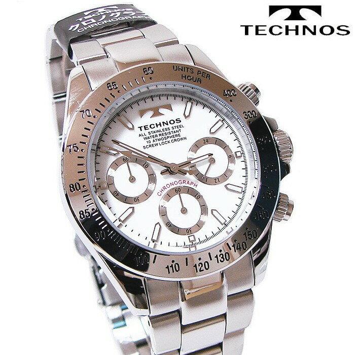 TECHNOS(テクノス) クロノグラフ腕時計 スポーティ精悍な多機能ウォッチ! TSM401SW 【あす楽対応】