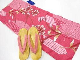 【バレンタインセール40%オフ!】リサイクル 草花模様浴衣・下駄セット(下駄24センチ)【送料無料】