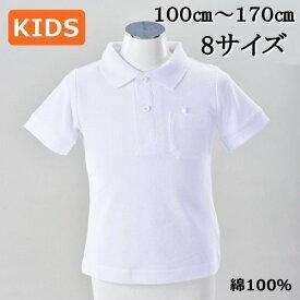 半袖 ポロシャツ 子供 こども 無地 綿100% 白 ホワイト 男女兼用 学校 スクール 制服 100〜170cm 【1点までメール便可能】