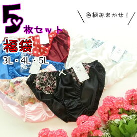福袋 おまかせ5枚 婦人 レディース トリコットショーツ 大きいサイズ 3L・4L・5Lサイズ【1セット(5枚)までメール便可能】
