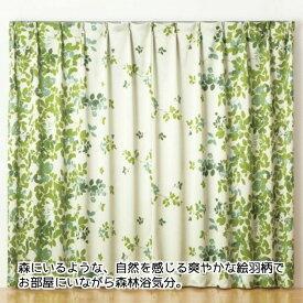 ドレープ カーテン エバリーフ 2枚組 100×200cm ウォッシャブル アジャスターフック 絵羽柄 葉 森林 自然