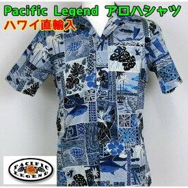 アロハシャツ Pacific Legend 紳士 メンズ パッチワーク ハワイ製 【1点までメール便可】
