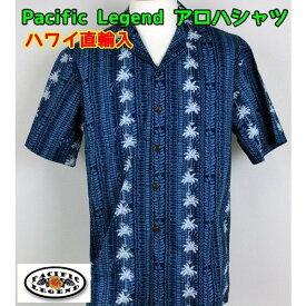 アロハシャツ Pacific Legend 紳士 メンズ パームツリーストライプ ハワイ製 【1点までメール便可】