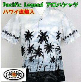 アロハシャツ Pacific Legend 紳士 メンズ パームツリー ハワイ製 【1点までメール便可】