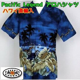 アロハシャツ Pacific Legend 紳士 メンズ チョッパーバイク ハワイ製 【1点までメール便可】