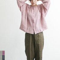 ICHIAntiquitesイチアンティークス水撚りストライプシャツレディースシャツストライプリネン長袖