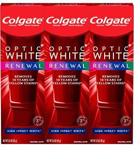 【送料無料/3個セット】コルゲートオプティック ホワイトリニューアル 歯 ホワイトニング歯磨き粉、ハイインパクトホワイト-(3パック)/Colgate Optic White Renewal High Impact White