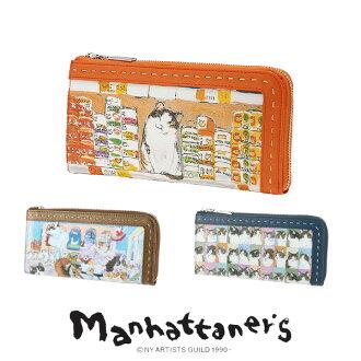 Manhattanese manhattaner!L 形拉鍊錢包 07577 女士硬幣錢包和