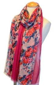 今年の新作 大判サマー スカーフ デザインプリント ストール きれいな花柄 ピンク ※フリンジ有