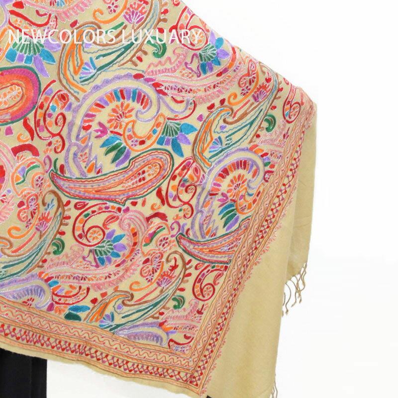 ゴージャス手刺繍インド製 パシュミナ カシミール刺繍入ストール ウール 100% ショール ベージュ