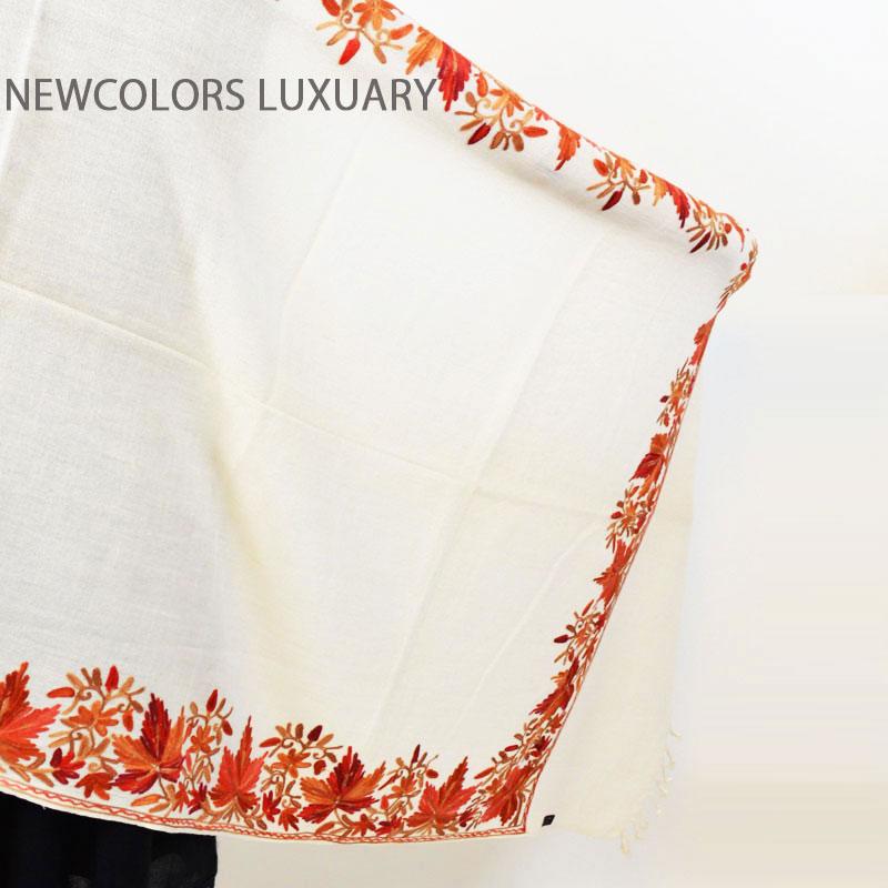ゴージャス手刺繍インド製 パシュミナ カシミール刺繍入ストール ウール 100% ショール ホワイト