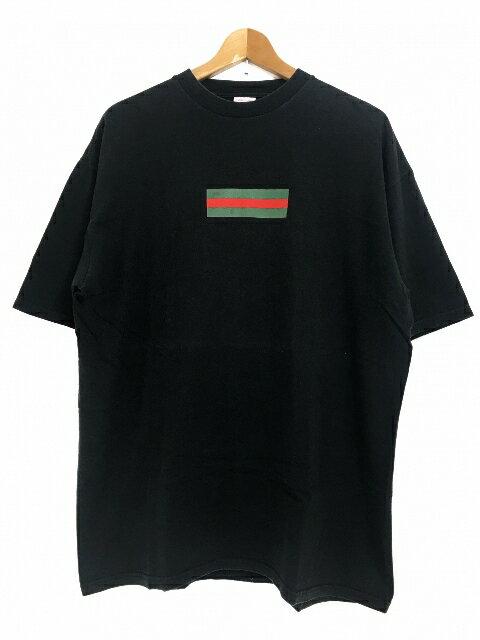 00SS SUPREME Gucci Box Logo S/S Tee (BLACK) XL シュプリーム グッチ ボックスロゴ 半袖 Tシャツ 黒 ブラック グッチカラー 初期 つるタグ 【中古品】