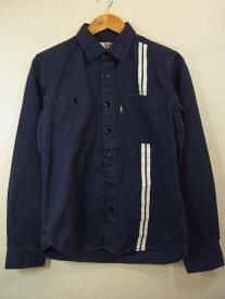 11SS CHALLENGER ヘリンボーン ワークシャツ 紺 S チャレンジャー 【中古】