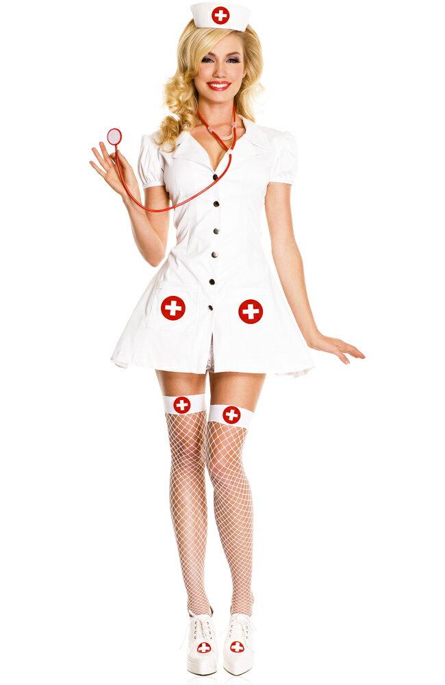 ポイント16倍 ミュージックレッグス Music Legs ナース コスプレ 看護婦 コスチューム 4点セット ホワイト XS・SM・ML アメリカ輸入