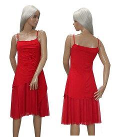 ワンピース ドレス ひざ丈 ストレッチ素材 ゆったり フリーサイズ レッド フランス製 送料無料
