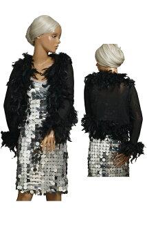 有要點16倍的女式無鈕短上衣茄克對襟毛衣羽毛的marabotorimu長袖子黑色·白