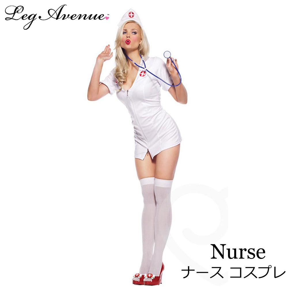 ポイント16倍 レッグアベニュー Leg Avenue 看護婦 ナース コスプレ ナース コスチューム 3点セット ワンピース ヘッドピース 聴診器 MLサイズ