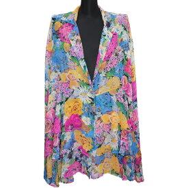 セール レディース シャツ ブラウス 長袖 トップス 柄 花柄 ヒョウ柄 ブラック フリーサイズ 大きいサイズ メール便 送料無料